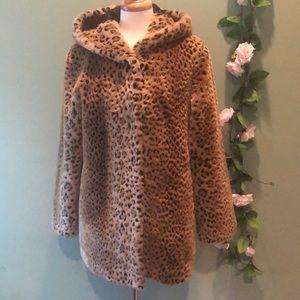 Faux Leopard Short Fur Coat with Hood